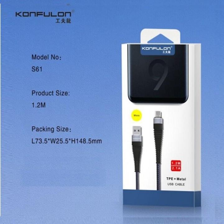 Konfulon microUSB кабель S61, 1.2m белый (шт.)
