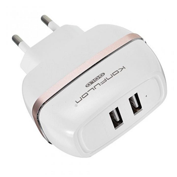Konfulon ЗУ сетевое C23 2.4 A 2*USB (EU) rose gold (шт.)