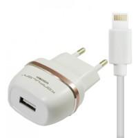 Konfulon ЗУ сетевое C31 2.1 A 2*USB + кабель Lightning (EU) rose gold (шт.)