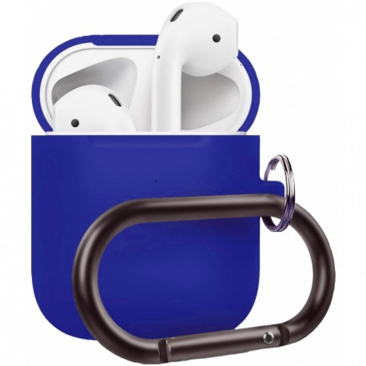 Чехол Silicone Case for AirPods 2 (with carabine) Dark Blue