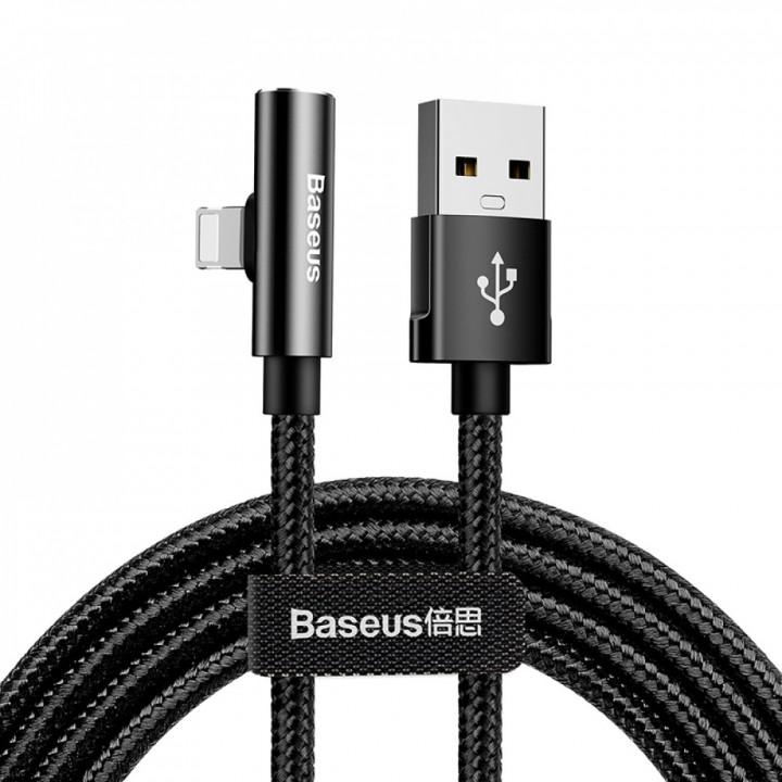 Baseus USB Lightning кабель Rhythm Bent Connector Audio and Charging Cable 2A 1.2m Black (шт.)
