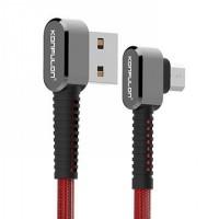 Konfulon microUSB кабель S73 L-образный, 2.1A 1.0m красный