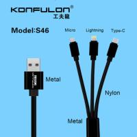 Konfulon 3in1 Lightning+Micro+Type-C USB кабель S46, 2.1A 1.5m черный