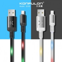 Konfulon microUSB кабель DC09 (LED Data Cable with voice control), 2A 1.0m белый