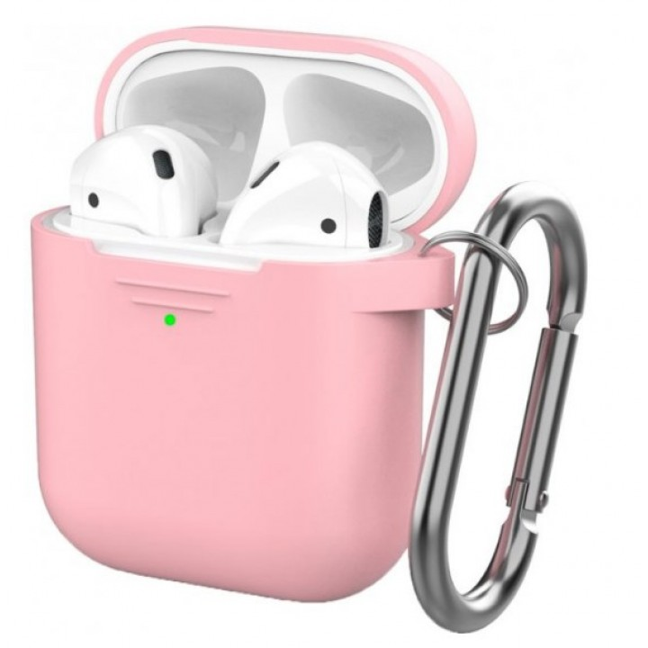 Чехол Silicone Case for AirPods 2 (with carabine) Pink