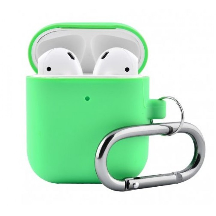Чехол Silicone Case for AirPods 2 (with carabine) Spearmint