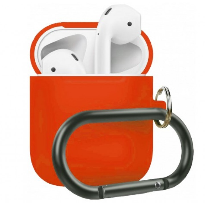Чехол Silicone Case for AirPods 2 (with carabine) Peach