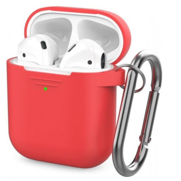 Чехол Silicone Case for AirPods 2 (with carabine) Red