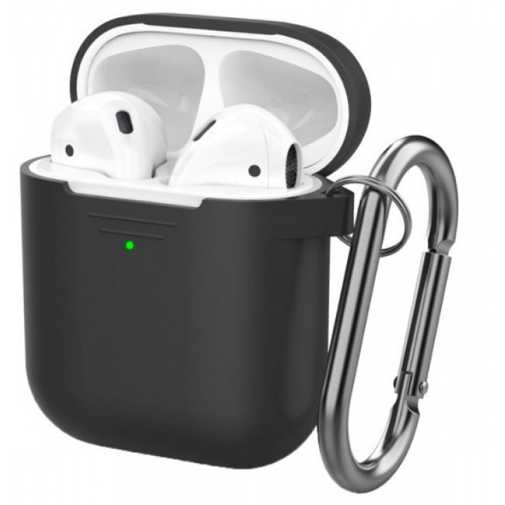 Чехол Silicone Case for AirPods 2 (with carabine) Black