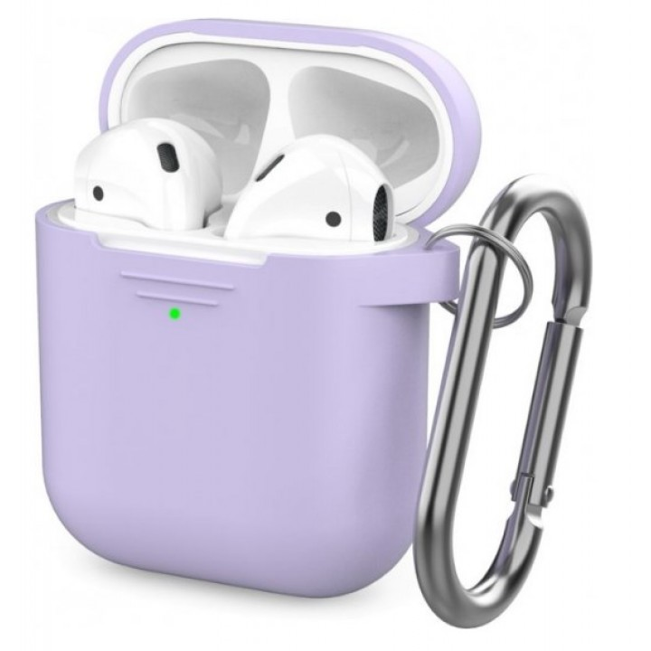 Чехол Silicone Case for AirPods 2 (with carabine) Purple