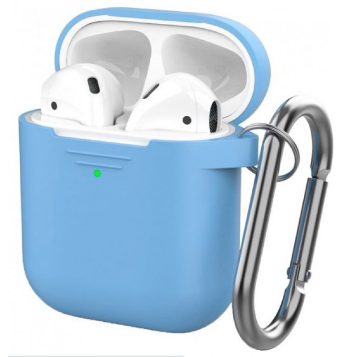 Чехол Silicone Case for AirPods 2 (with carabine) Sky Blue