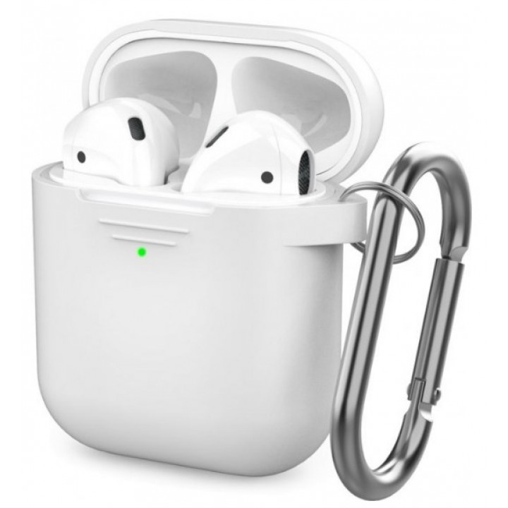 Чехол Silicone Case for AirPods 2 (with carabine) White