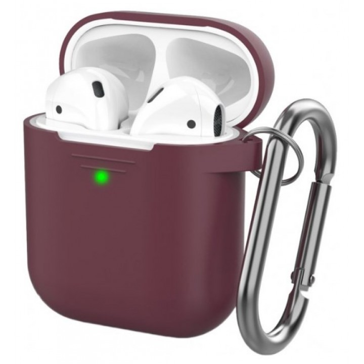 Чехол Silicone Case for AirPods 2 (with carabine) Burgundy