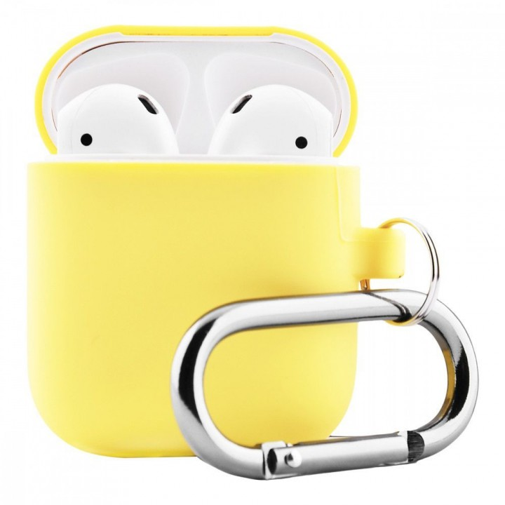Чехол Silicone Case for AirPods 2 (with carabine) Yellow